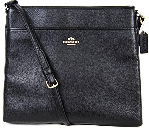Coach Pebbled Leather File Bag - Black