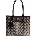 Tommy Hilfiger Logo Tassel Tote Bag Handbag Purse, Black