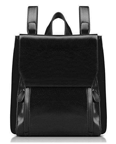 PULABO Women PU Oil Wax Leather Backpack Ladies Cool Style Shoulder Bag Lady's Magnetic Zipper Closure Handbag