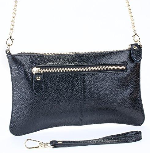 Women's Fashion Leather Wristlet, Crossbody Clutch Purse