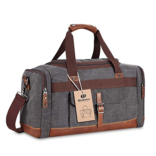 BLUBOON Duffel Bags Canvas Leather Vintage Travel Overnight Bag 18.9