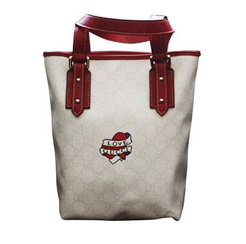 38eb1ee907d6ff Gucci White Canvas Tote Bucket Bag Love Gucci Heart Tattoo Small Handbag