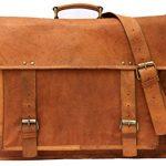 Hukart 18 Inch handmade Vintage Leather Messenger Bag for Laptop Bag 18X13X6 Brown