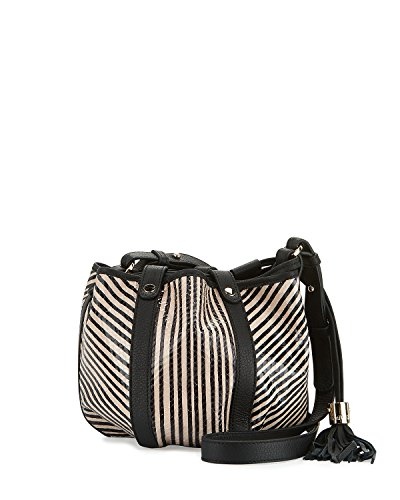 See by Chloe Vicki Small Striped Leather Bucket Bag, Black