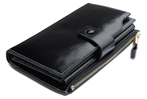 Grebago Women's Genuine Leather Wallets Long Zipper Clutch Purses Handbags