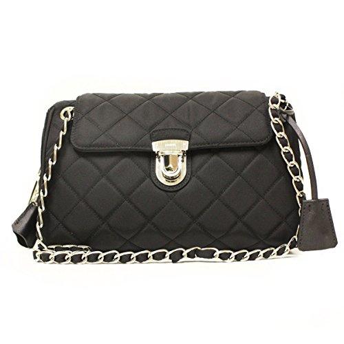 0e93dd13ecd8 Prada Tessuto Impuntu Pattina Quilted Nylon Chain Shoulder Bag BR4965, Black  / Nero