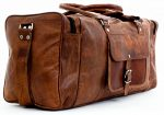 PC 24″ Leather Duffel Travel Gym Overnight Weekend Leather Bag Sports Cabin