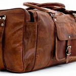 "PC 24"" Leather Duffel Travel Gym Overnight Weekend Leather Bag Sports Cabin"