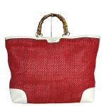 Gucci Red Straw Leather Top Bamboo Shopper Handle Large Tote 338964