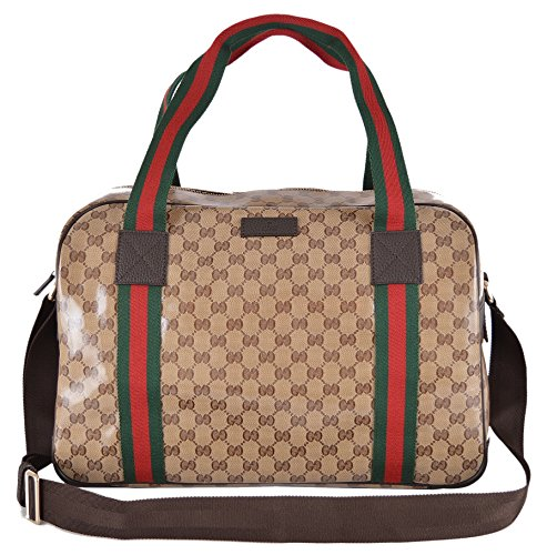 Gucci Crystal Line Coated Canvas GG Guccissima Red Web Duffle Travel Bag · ‹ 8819b60fc87f1