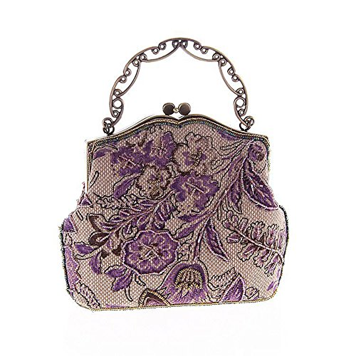 452b002afc Covelin Women's Vintage Clutch Handbag Flower Beaded Evening Tote Bag Hot