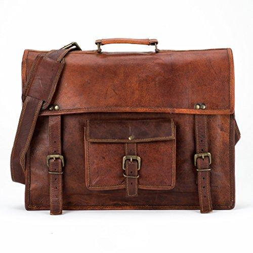 LUST Vintage Leather Laptop Messenger Bag 13