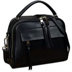 YALUXE Women's Cute Double Zipper Genuine Leather Handbag Top Handle Cross Body Shoulder Bag