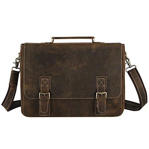 69427c913e Smriti Vintage Real Leather Laptop Messenger Bag Satchel Briefcase - Brown