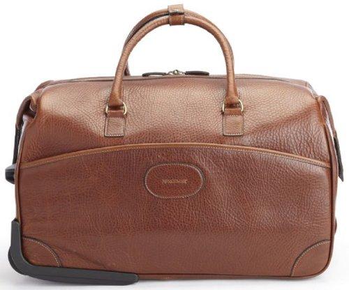 Korchmar Edison Wheeled Leather Duffel Bag - Chocolate