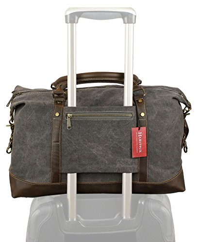 Habitoux Genuine Leather Canvas Weekender Duffel Bag - Travel Tote