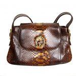 Gucci Brown 1973 Python Tote Handbag Shoulder Bag 251811