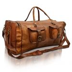 28 Inch Leather Travel Bag Vintage Duffel Holdall Weekender Luggage Sports Duffle