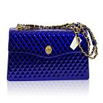 Valentino Orlandi Italian Designer Cobalt Blue Quilted Leather Purse Chain Bag
