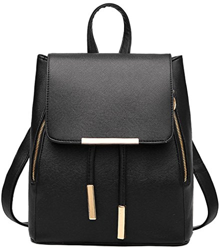Coofit Black Leather Backpack for Girls Schoolbag Mini Casual ...