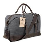 BLUBOON Travel Duffel Bag Canvas Leather Overnight Bag