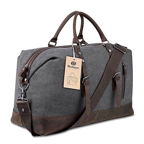 BLUBOON Travel Duffel Bag Canvas Leather Overnight Bag