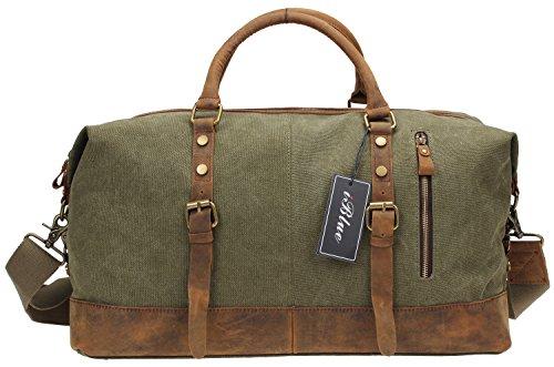 Iblue Overnight Canvas Leather Trim Travel Tote Duffel Gym Shoulder Handbag Weekend Bag#012031(Upgraded Version)