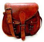 Women Vintage Style Genuine Brown Leather Cross Body Shoulder Bag Handmade Purse
