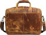 Iswee Crazy Horse Cowhide Leather Durable Shoulder Briefcase, 17.3″ Laptop Messenger Bag Handbags