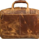 "Iswee Crazy Horse Cowhide Leather Durable Shoulder Briefcase, 17.3"" Laptop Messenger Bag Handbags"