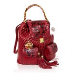 Valentino Orlandi Italian Designer Red Quilted & Python Leather Purse Backpack