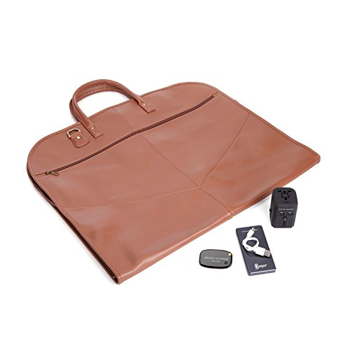 ROYCE Luxury Travel Set: Garment Bag with Bluetooth-based Tracking Device for Locating Luggage, Portable Power Bank and International Adapter - Tan