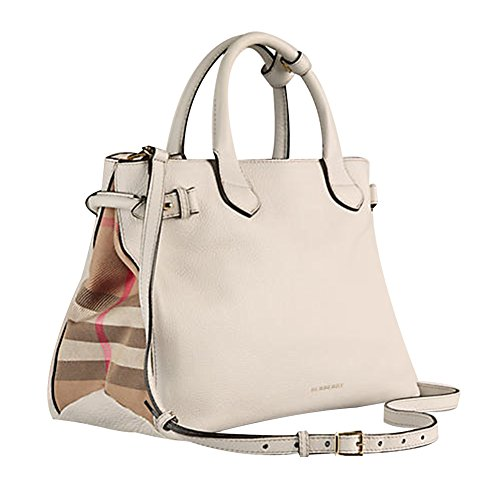 4675010a5e38 Tote Bag Handbag Authentic Burberry Medium Banner in Leather and House Check  Natural Item 39589791