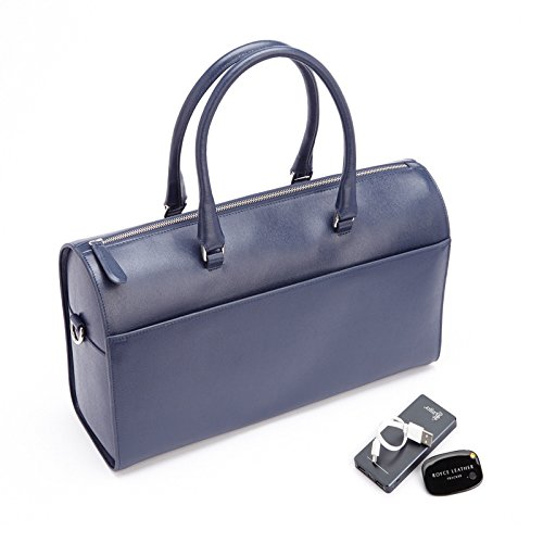 ROYCE RFID Blocking Saffiano Barrel Bag with Bluetooth-based Tracking Device for Locating Luggage and Portable Power Bank - Blue