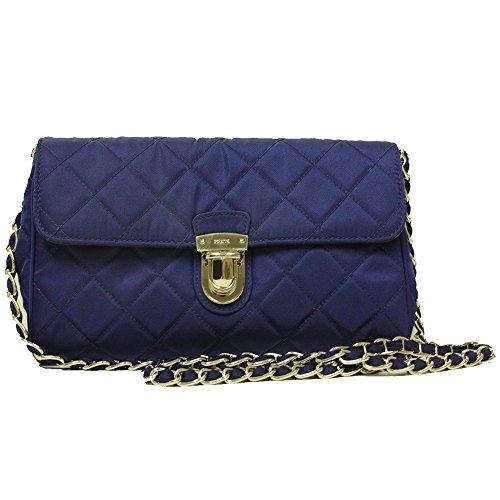 2fe9c992372 Prada Royal Blue Quilted Tessuto Nylon Saffiano Leather Chain Cross ...