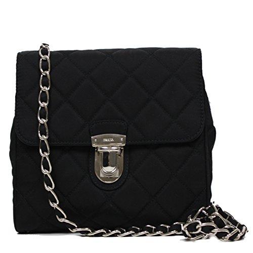 2cdc6e3ac202 Prada 1BD623 Tessuto Impuntu Pattina Quilted Chain Evening Shoulder Bag  Black
