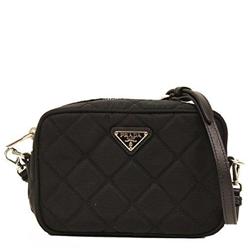 16ae6a71a80bb9 Prada Tessuto Small Black Quilted Nylon Crossbody Shoulder Bag BT1028