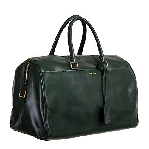 Saint Laurent Women's Forest Green Calfskin Leather Classic Duffle 12 Bag