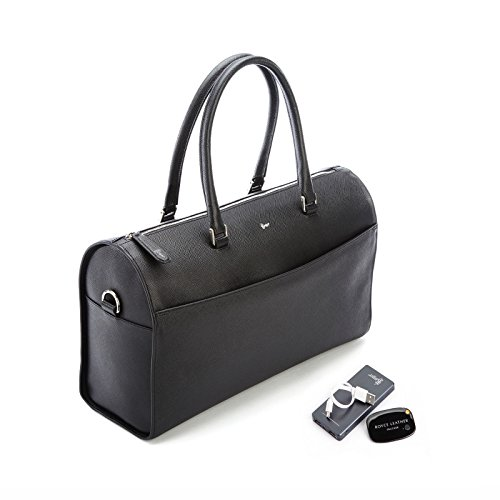ROYCE RFID Blocking Saffiano Barrel Bag with Bluetooth-based Tracking Device for Locating Luggage and Portable Power Bank - Black