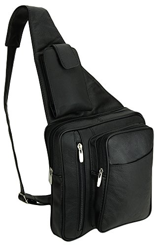 Leather Ipad Compatible Cross-Body Sling Bag withCarabiner