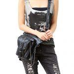 XY Fancy Women/Men Black Leather Steampunk Leg Thigh Hip Holster Wallet Purse Pouch Mini Waist Packs/Messenger Bag
