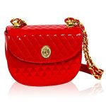 Valentino Orlandi Italian Designer Fire Red Quilted Leather Half Moon Chain Bag