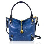 Marino Orlandi Designer Blue Alligator Embossed Leather Large Slouchy Bag