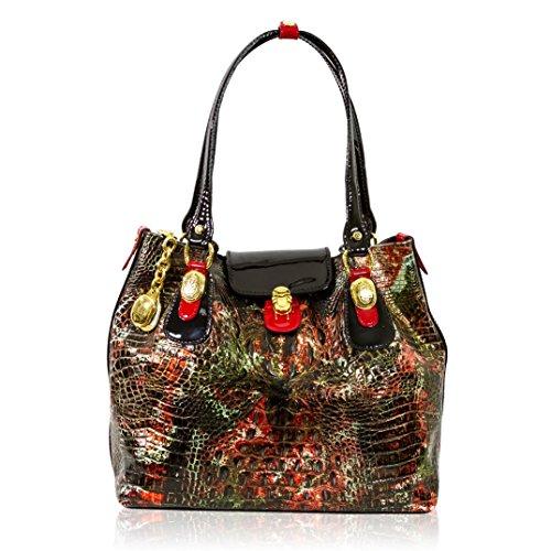 Marino Orlandi Italian Designer Golden Red Alligator Leather Large Tote Bag
