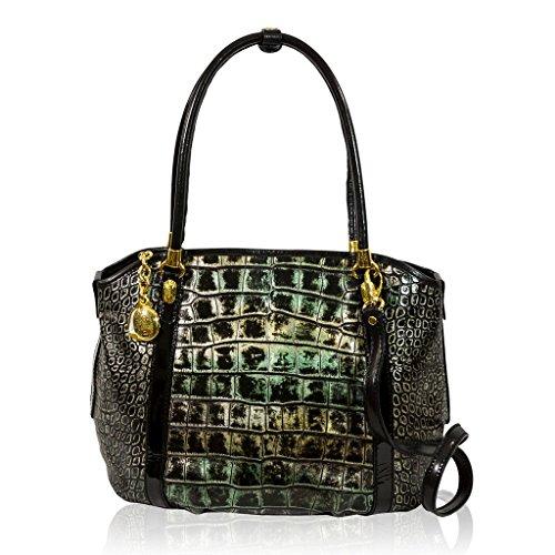 Marino Orlandi Italian Designer Green Croc Leather Satchel Purse Crossbody  Bag 76afa041979cd