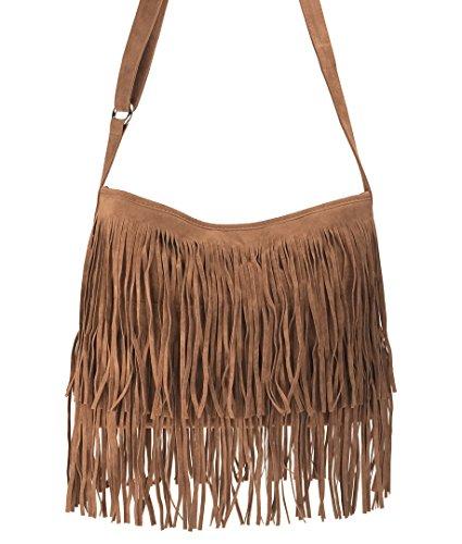 Hoxis Tassel Faux Suede Leather Hobo Cross Body Shoulder Bag Womens Sling Bag New Upgrade
