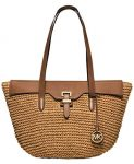 Michael Kors Straw Naomi Large Paper straw leather Tote walnut Gold