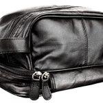 Genuine Leather Dopp Kit Shaving Accessory Toiletry Travel Bag for Men