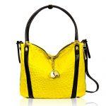 Marino Orlandi Italian Designer Yellow Ray Monogram Leather Large Crossbody Bag