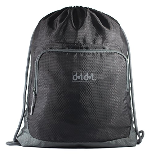 Dot&Dot Gymsack Drawstring Bag - Water Resistant and Lightweight Backpack with Drawcord Closure - Suits Men and Women Sackpack Tote for Travel, Gym, Fitness, Indoor or Outdoor Sports